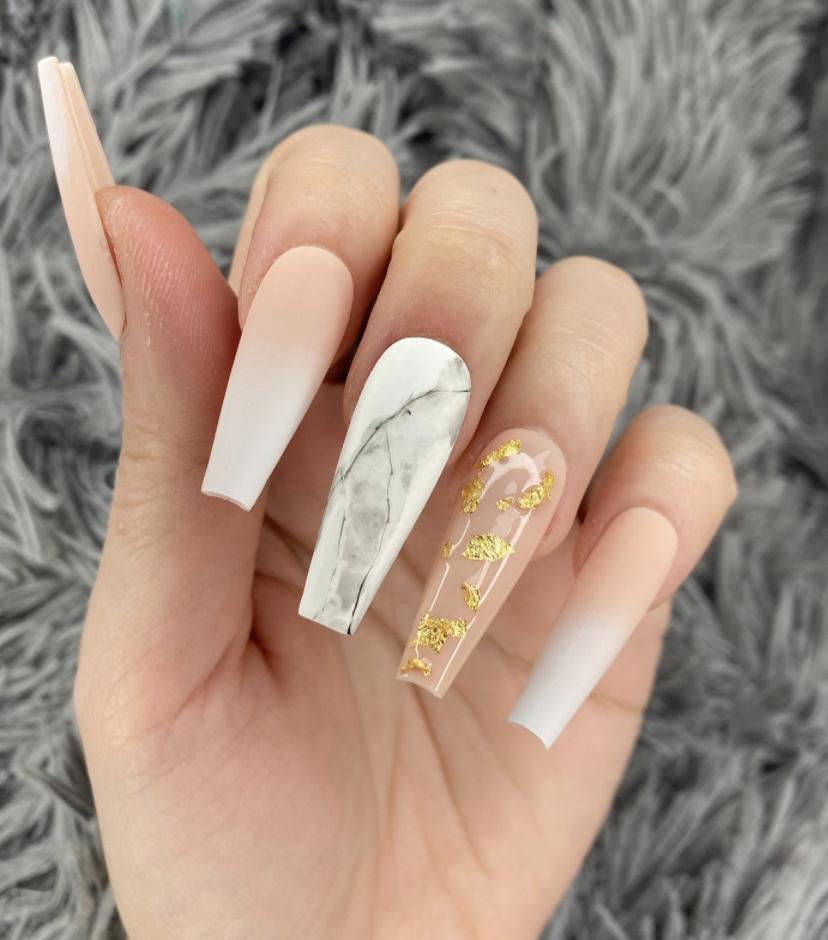 cute white nails